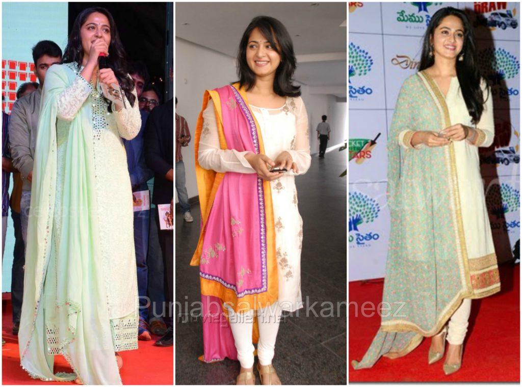Anushka shetty in Salwar Kameez, South indian actress in salwar kameez, Anushka shetty style,